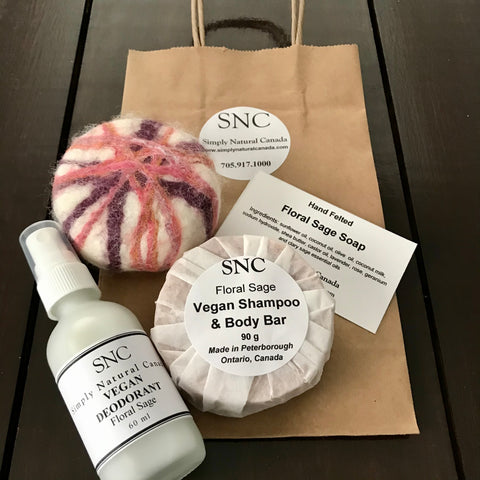 floral sage vegan felted soap, shampoo bar and refillable natural deodorant set