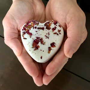 canadian made heart shaped floral essential oil bath bomb