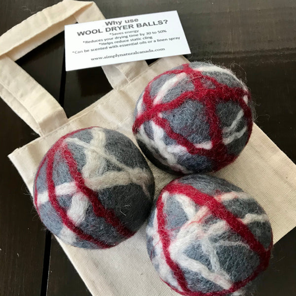 red white and grey wool dryer ball 3 pack made in canada