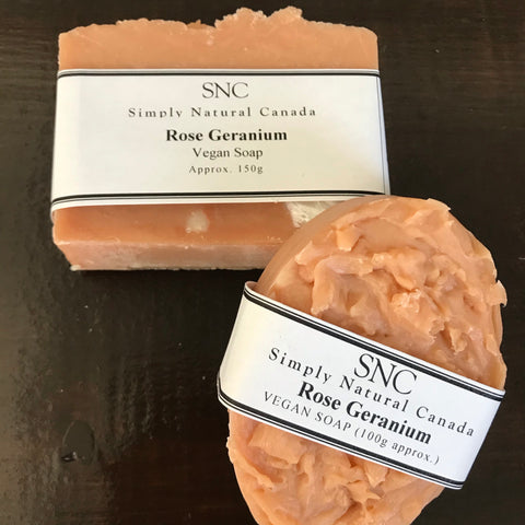 rose geranium vegan soap made in canada