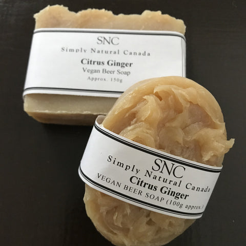 canadian made citrus ginger vegan beer soap