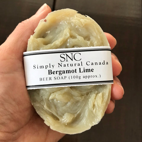 handcrafted bergamot lime oval beer soap made in canada