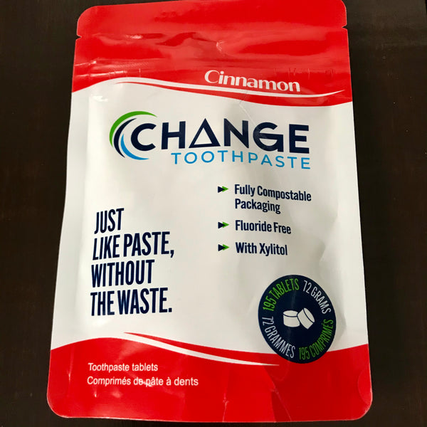 canadian made cinnamon change toothpaste tablets 195 3 month supply in compostable packaging