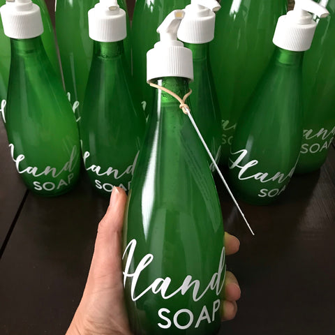canadian made natural hand soap in upcycled glass bottle