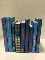 Lot of 10 random Hardcover BLUE NAVY AQUA TEAL Books for Staging Prop Decor