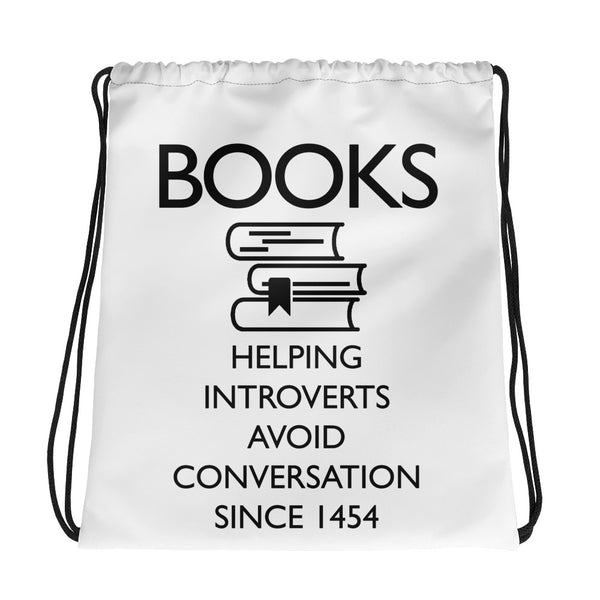 Book Lover's Introvert Drawstring bag
