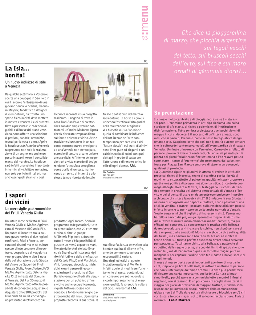 Isla Fontaine store on Venezia News Magazine