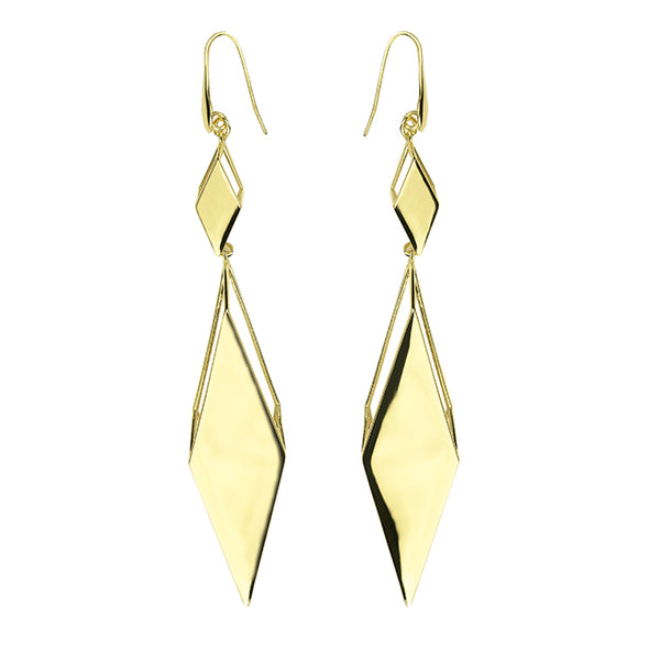 Sculptural geometric gold earrings