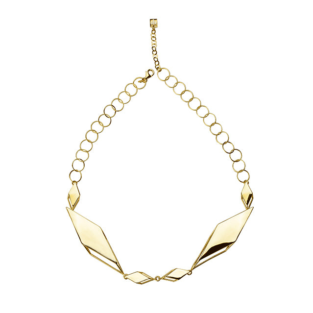 Sculptural geometric gold necklace