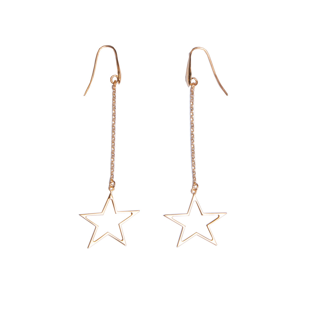 Cres Gold Drop Earrings
