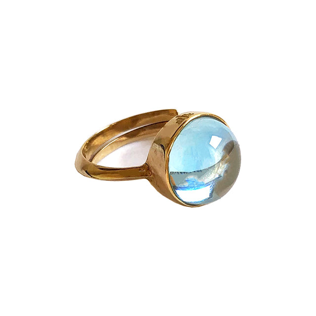 Frieda Gold Large Ring, Light Blue