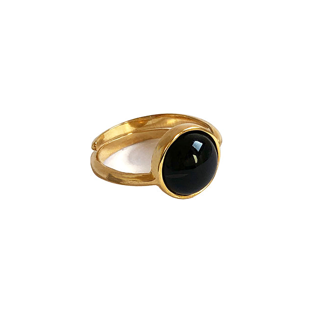Black stone gold ring