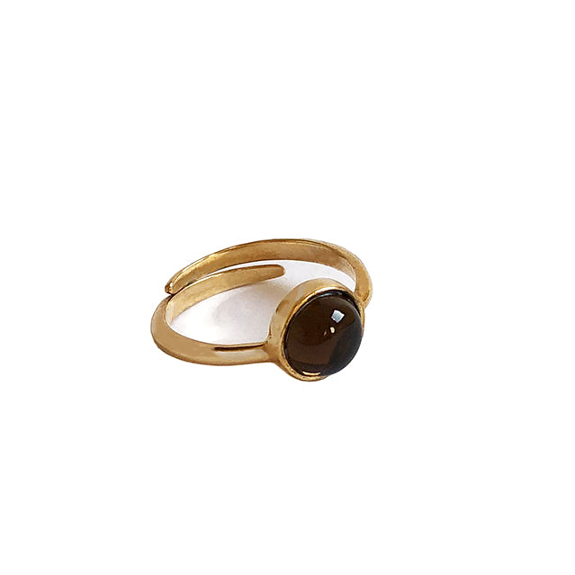 Brown stone gold ring