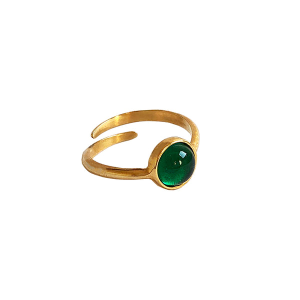 Green stone gold ring