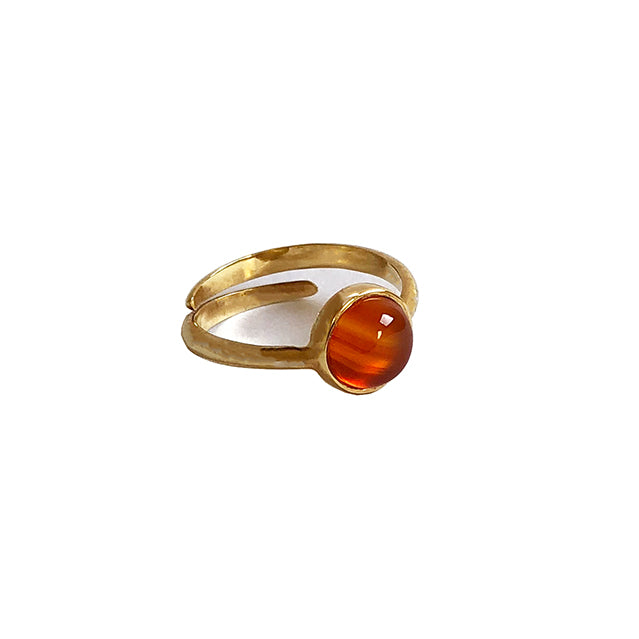 Orange stone gold ring