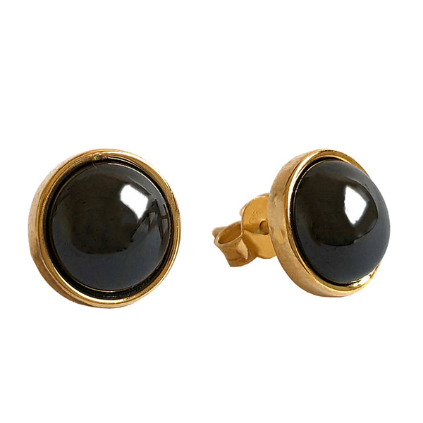 Black stone gold stud earrings