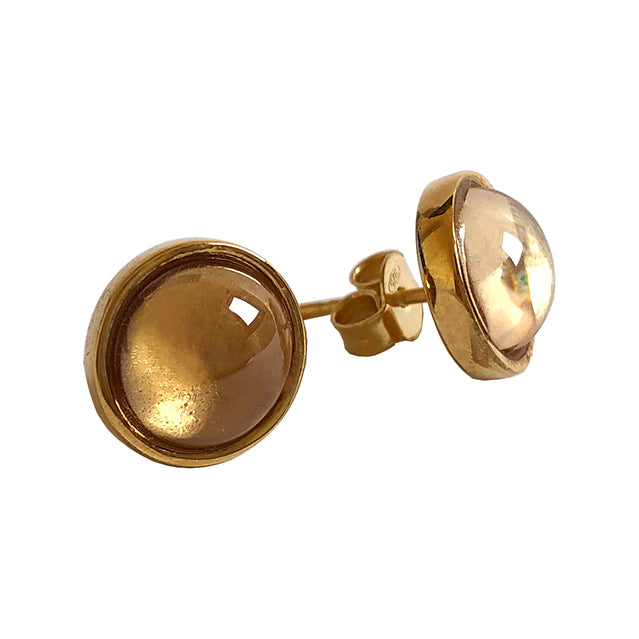 Champagne stone gold stud earrings