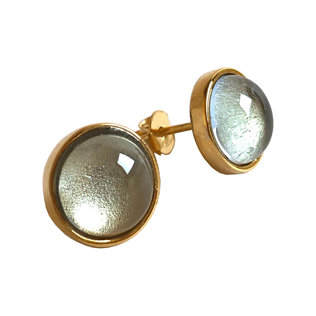 Light blue stone gold stud earrings