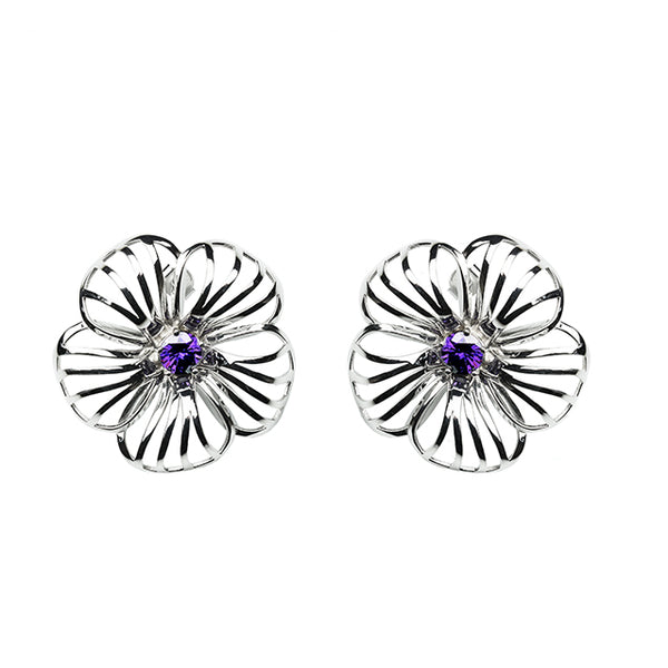 Flower sculptural silver earrings