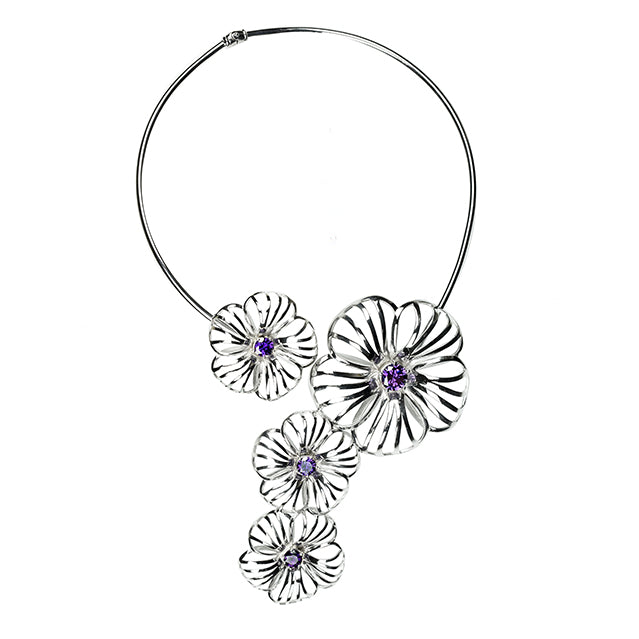 Flower sculptural silver necklace