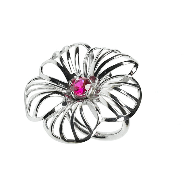 Flower sculptural silver ring
