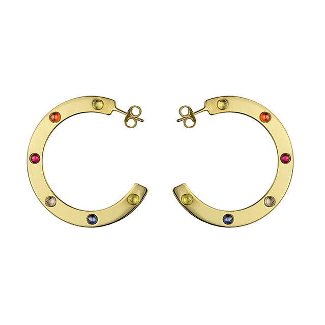 Stone gold hoops