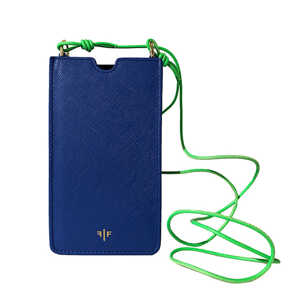 Phone case in textured leather, Blue