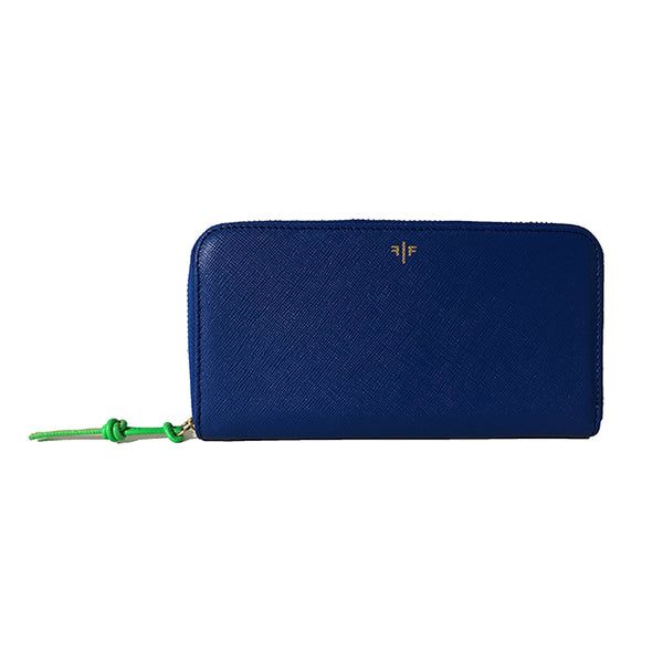 Zip-around Wallet in textured leather, Blue