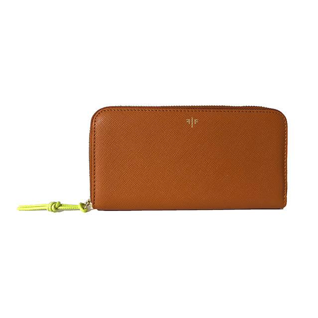 Zip-around Wallet in textured leather, Tan
