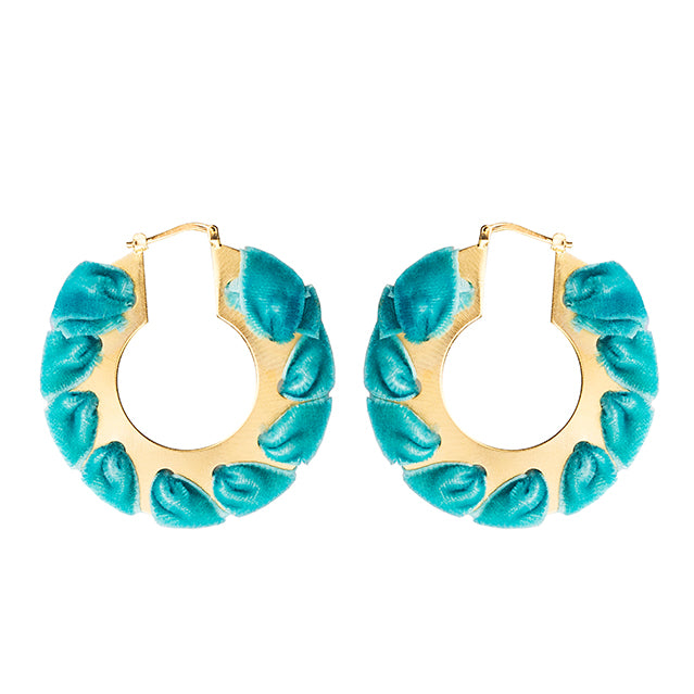 velvet gold circle earrings