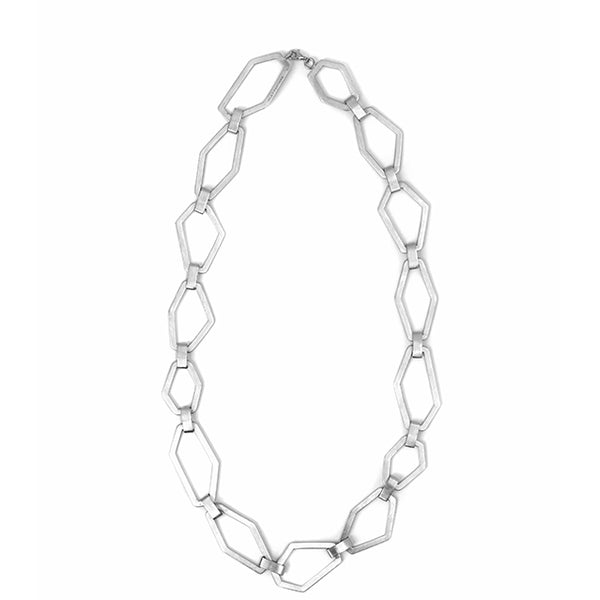 sculptural silver necklace