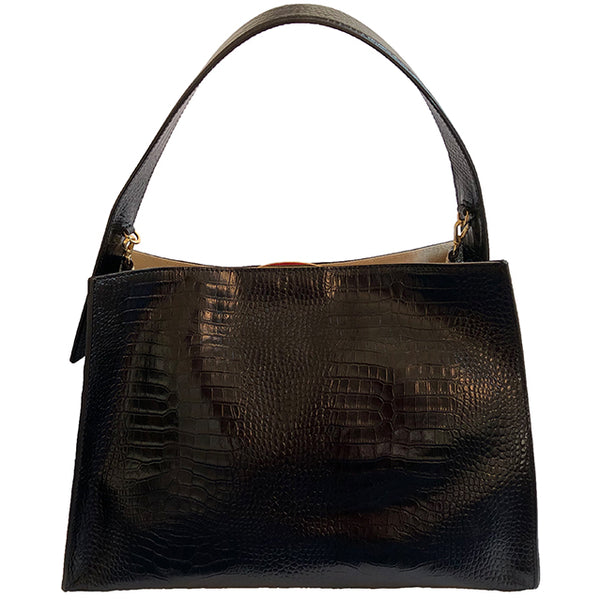 Black croc-effect hobo bag