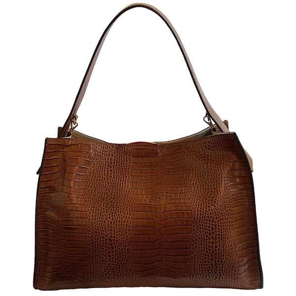 Hobo Bag, Croc-effect Brown