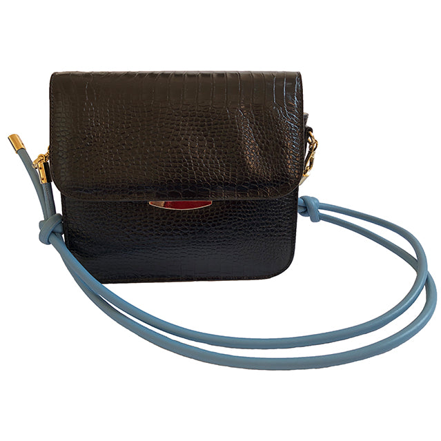 black croc effect shoulder bag