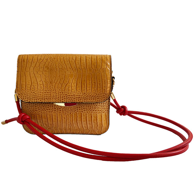 Saddle croc effect shoulder bag