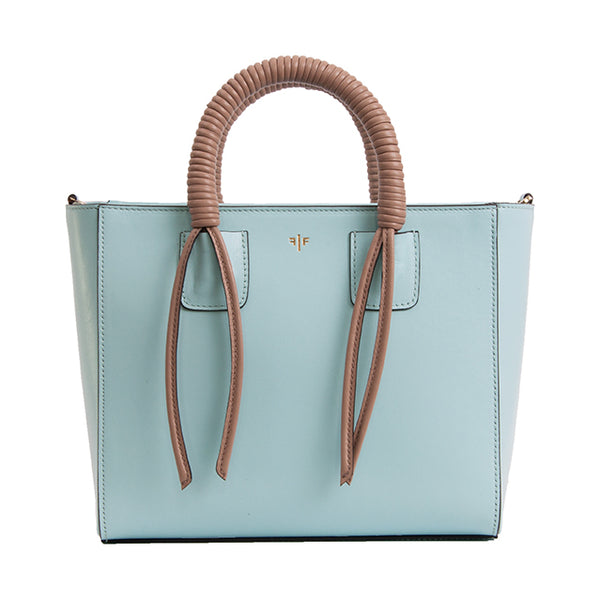 Tote Bag, Light Aqua and taupe