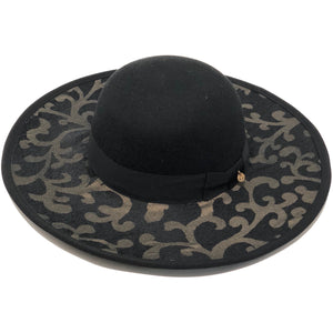 DESIGNER HAT WIDE BRIM BLACK TOP