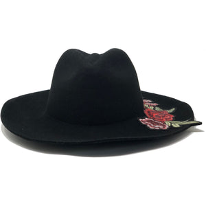 HAT FOR WOMEN BLACK FLOWER FRONT