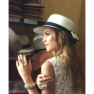 Uneven White Genuine Panama Weave Hat