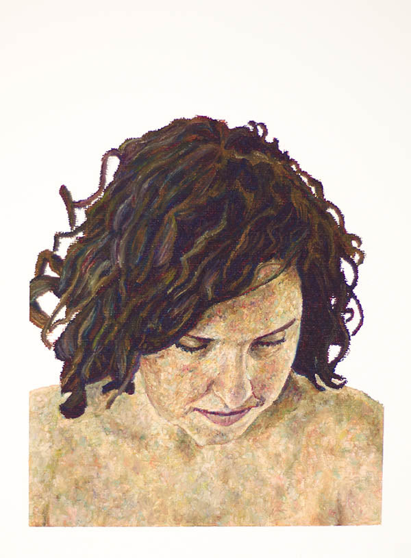 oi pastel portrait painting of a woman looking down