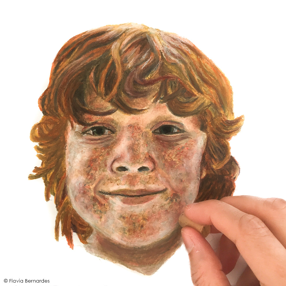 oil pastel portrait painting of a red hair boy