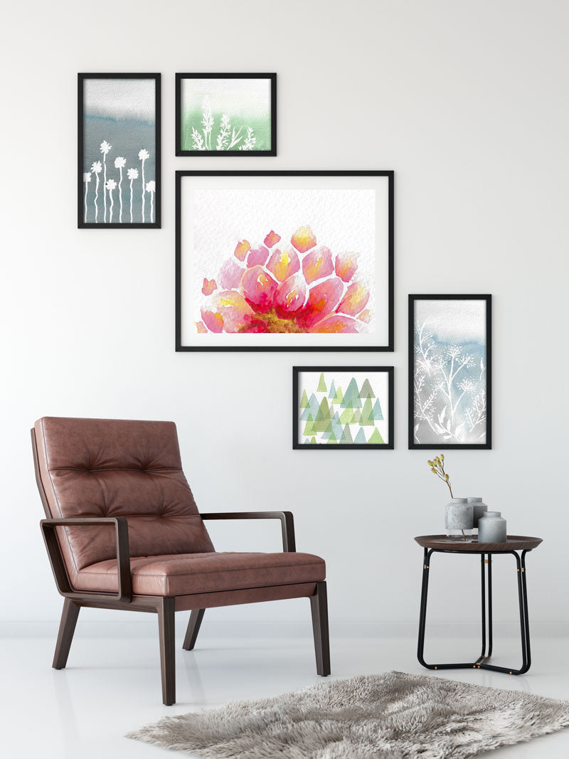 descending gallery wall, flower print, abstract prints