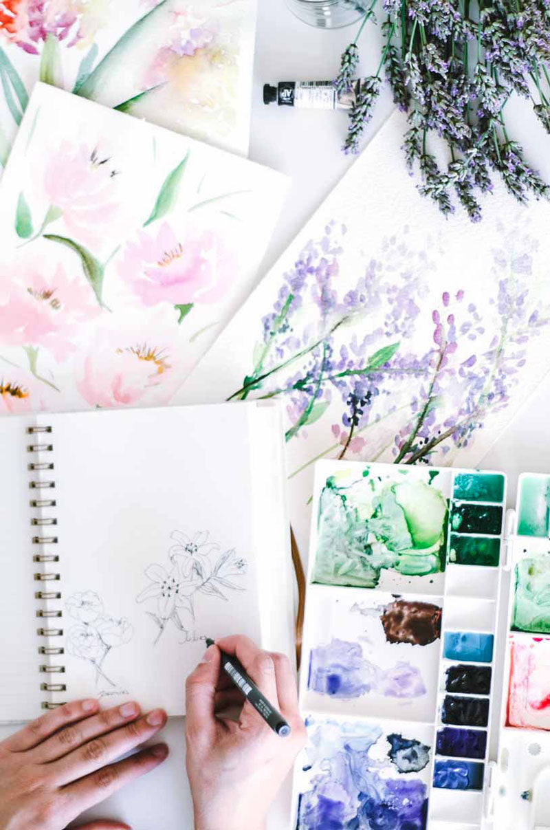 Watercolor flower paintings studies