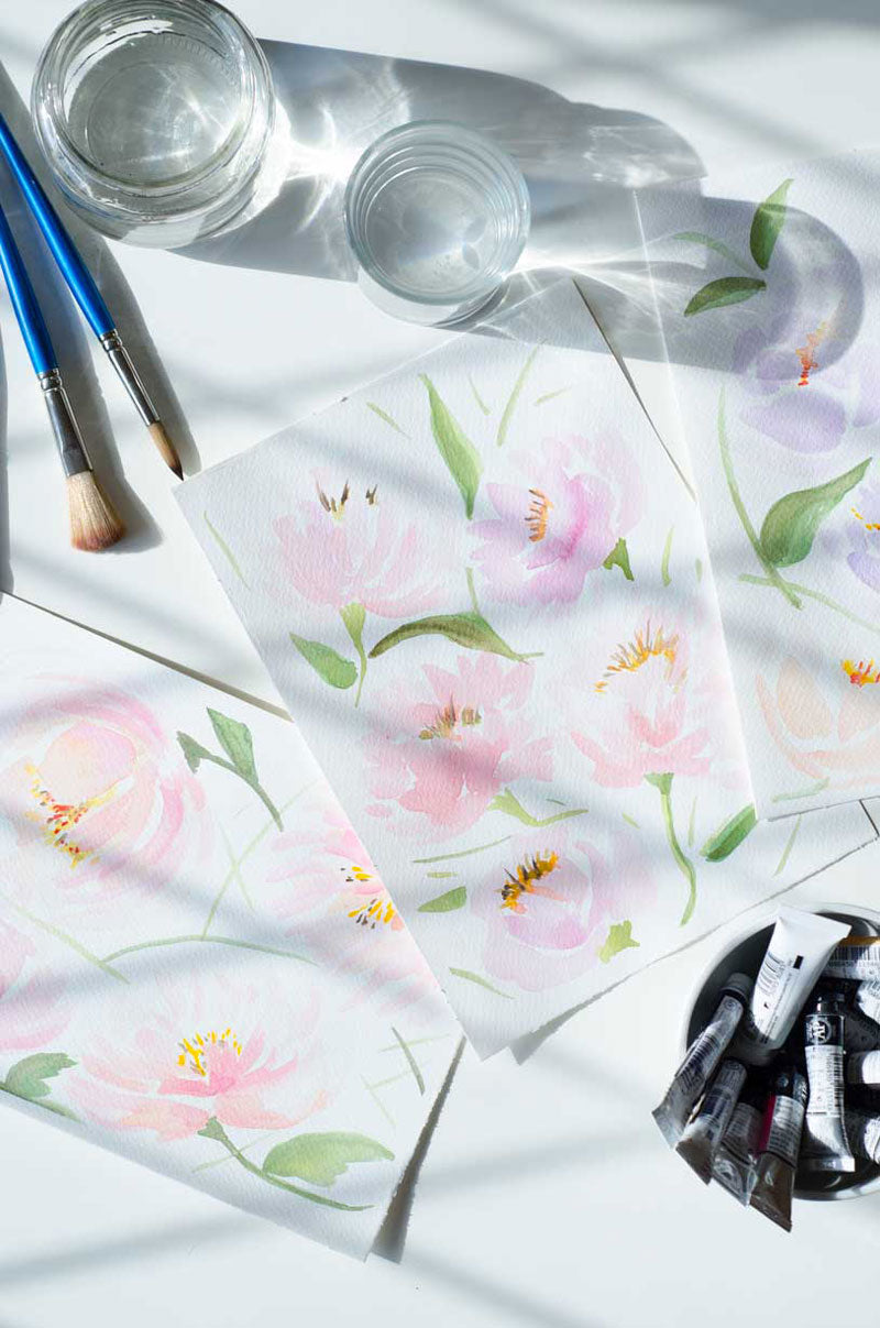 Watercolor peonies paintings