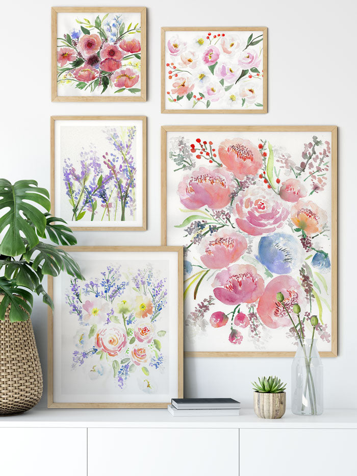 large watercolor flower wall art in gallery wall - flavia bernardes art