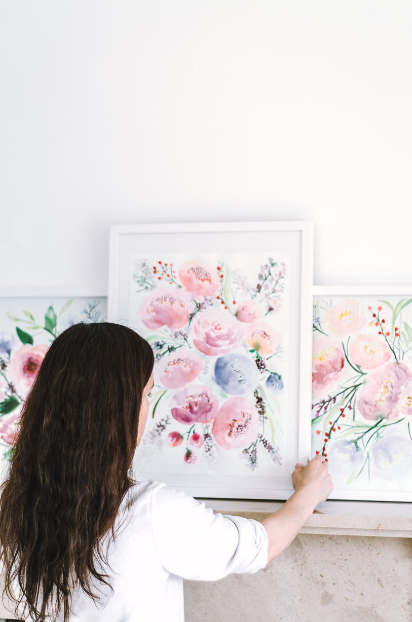 gallery wall flower paintings Flavia Bennard