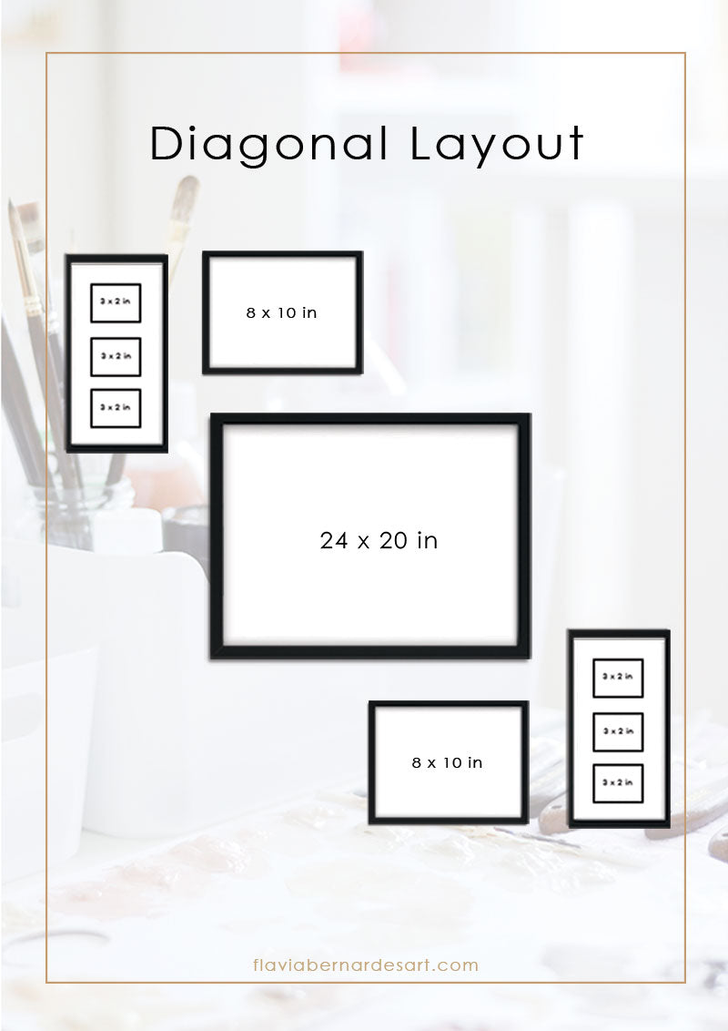 how to create a gallery wall - diagonal composition