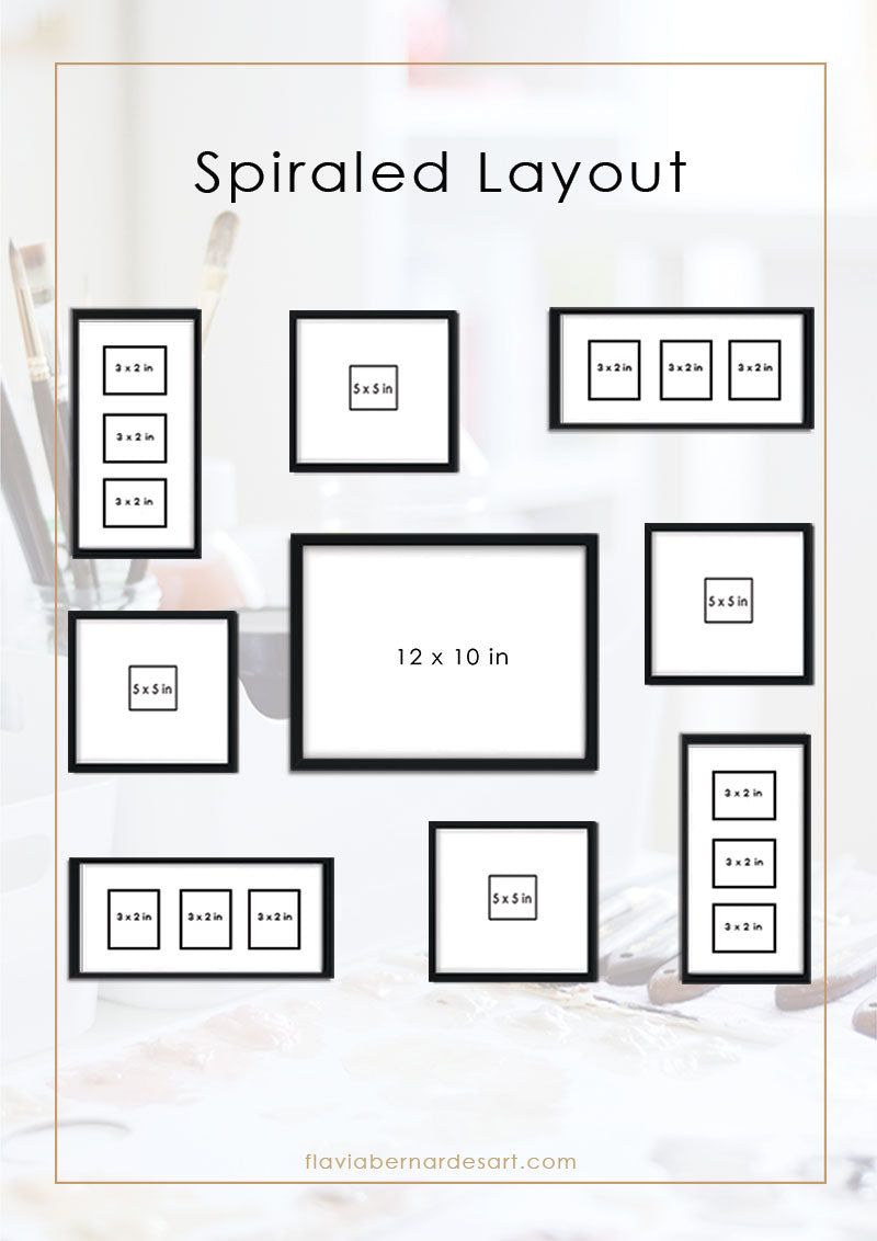 how to create a gallery wall - Spiraled composition