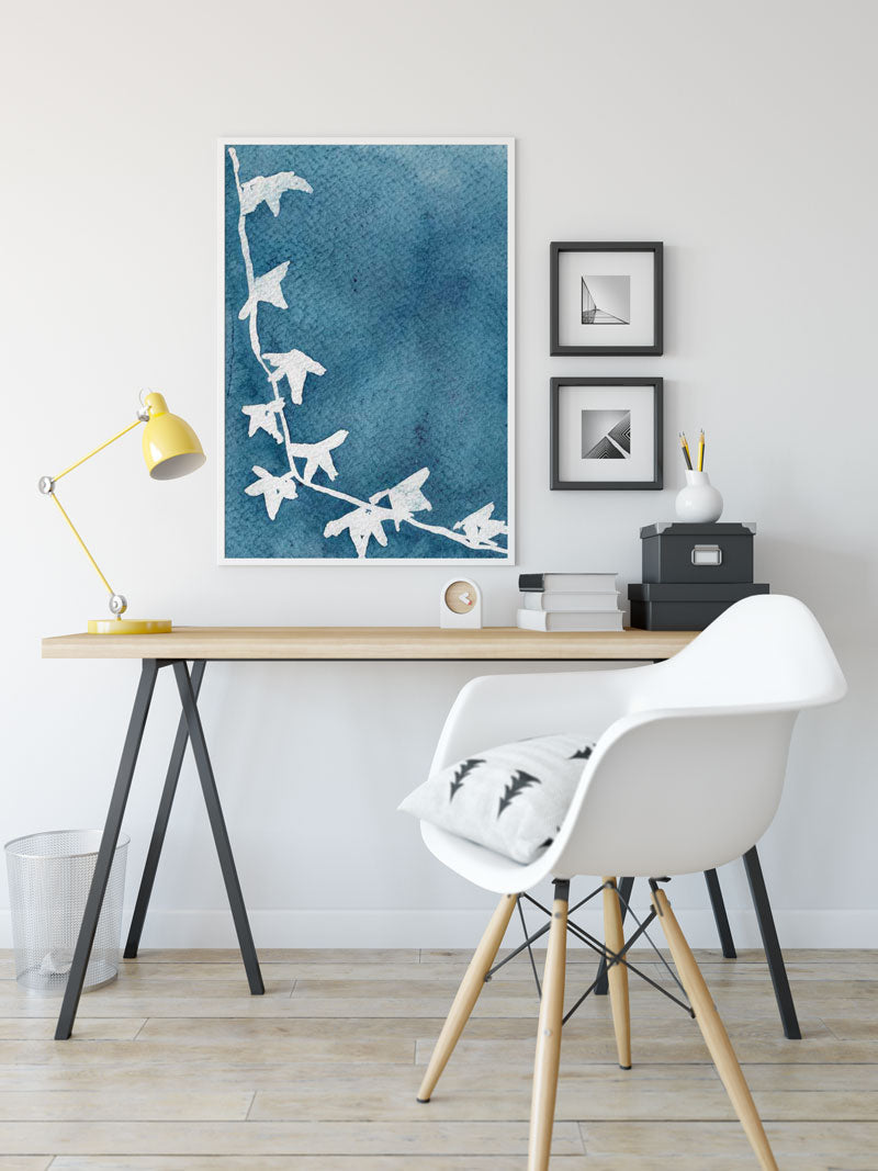 large-botanical-watercolor-print-hanging-on-study-room - 7 ways art can improve your room decor