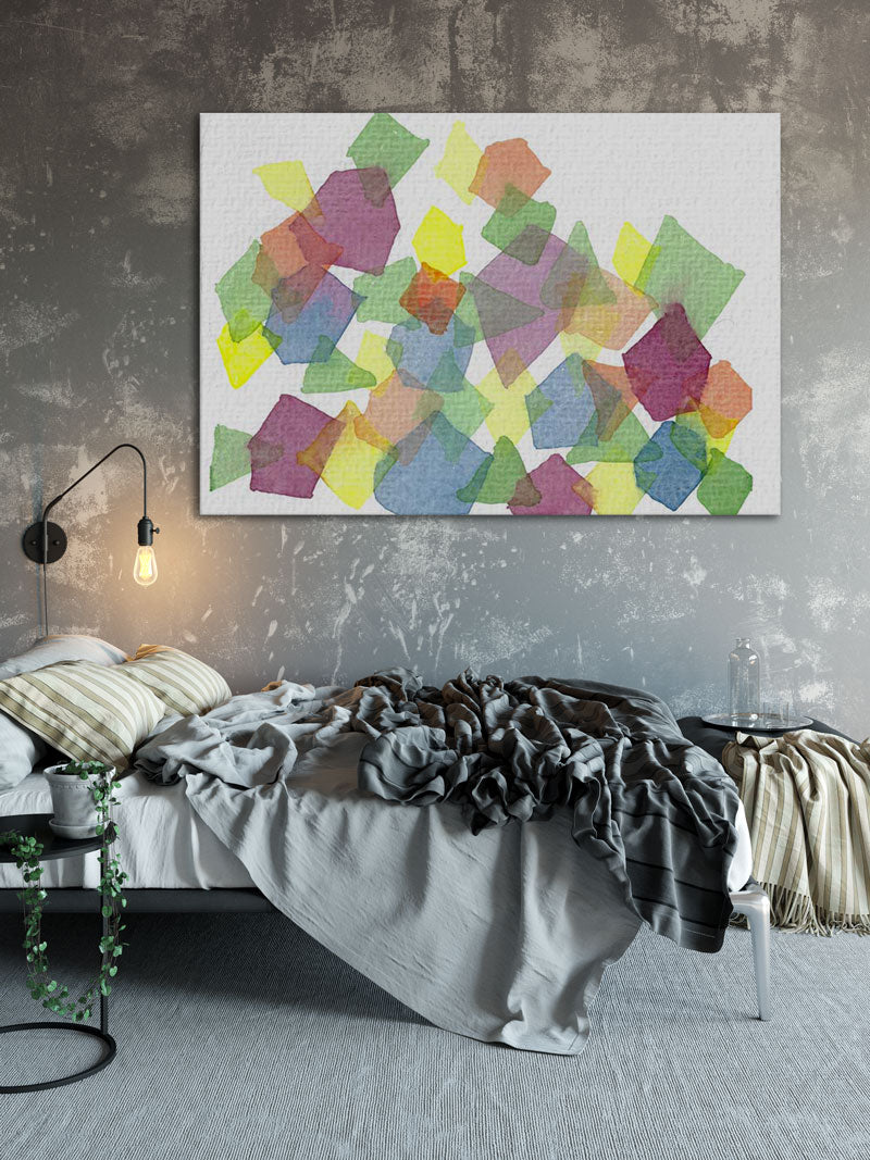 large geometric watercolor painting on bedroom wall - 7 ways art can improve your room decor